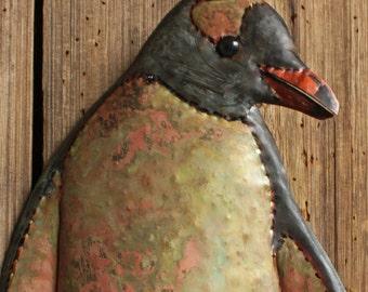 Gentoo Penguin - brass metal South Pole flightless seabird sculpture - wall hanging - slate-black, blue-green and salmon-pink patina - OOAK