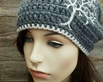 Slouchy Hat with Tree of Life, Slouchy Beanie with Tree, Dread Hat Tam Hat Slouch Hat  Gray Grey Charcoal Gray Womens Hat MADE TO ORDER