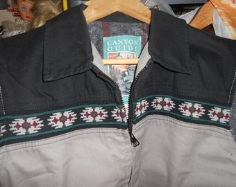 Blanket Lined Vest-Winter Sports Canyon Guide- Large- Vintage New