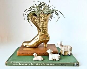 Victorian Brass Shoe, Brass Flower Pot, Brass Plant Pot