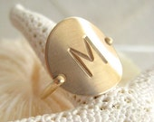 17% OFF SALE Gold Initial Ring - Hand Stamped & Personalized -also in Sterling Silver