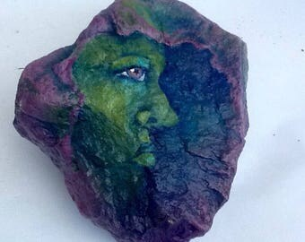 FACE hand painted rock art for home or garden
