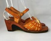 Vintage 70s Sandals   Bohemian Wood Heels Buskens Size 10