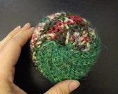 Green Jute Twine and Yarn Crochet Tawashi Dish Scouring Pad Scrubby bath pouf puff scrubber exfoliating beauty sponge