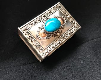 Turquoise semiprecious stone -Matchbox, Pillbox, Ring Box, handcrafted Indonesian sterling silver and 14K Gold