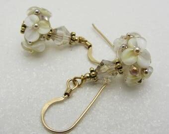Creamy White Lampwork Earrings Flower Earrings Glass Bead Earrings Dangle Drop Earrings Floral Earrings SRAJD USA Handmade