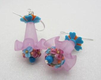 Lampwork Earrings Lampwork Glass Artisan Earrings Light Orchid Earrings Funky Earrings Summer Earrings RAJD