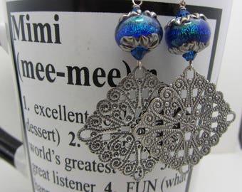 Lampwork Earrings Shimmering Blue Green Lampwork Dangle Earrings Mothers Day Gift Glass Bead Earrings Dangle Drop Earrings SRAJD Handmade
