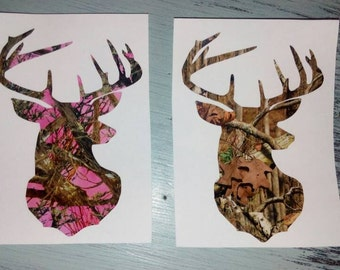 His and Hers Camo Deer Head Decals **SALE**