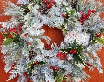 Winter Wreath....Christmas Wreath...Holiday Wreath...Front Door Wreath