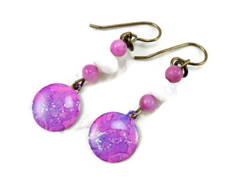 Hot pink and white hand painted earrings, Brass earrings