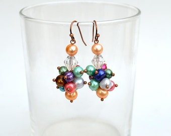 Happy pearls with orange assents Colorful pearl cluster earrings Real pearls cluster earrings with orange assents Free shippingE1145