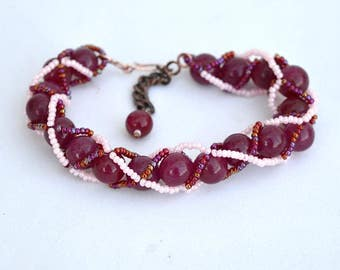 Ruby bracelet with spiral beadwork Bead woven bracelet with real ruby beads and glass seed beads Red and pink bracelet Israel art B345
