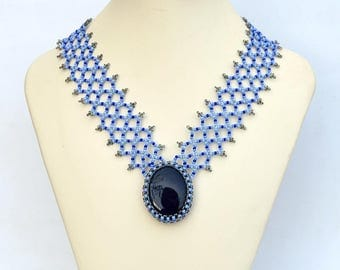 Shades of blue necklace Beadwork necklace with real blue aventurine or a wide chain Original necklace in many shades of blue N318