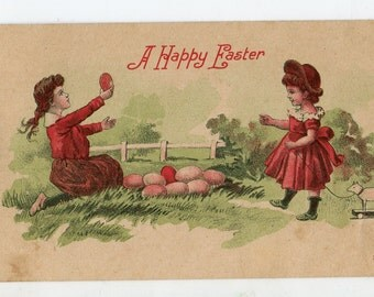 Vintage Easter postcard with cute girls, Easter eggs, lamb toy