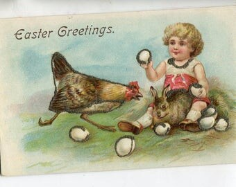 Easter postcard, vintage postcard, Cute girl, chicken, Easter bunny rabbit, Easter eggs vintage postcard, chicken postcard