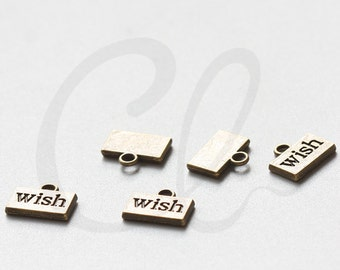 20pcs Antique Brass Tone Base Metal Charms-Wish Tag 13x11mm (8121Y-E-220B)
