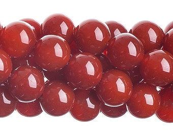10 Pieces Natural Semi Precious Carnelian Stone Dyed - Round (623)
