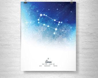 Gemini Poster, Zodiac Gemini Print, Zodiac Stars, Gemini Constellation
