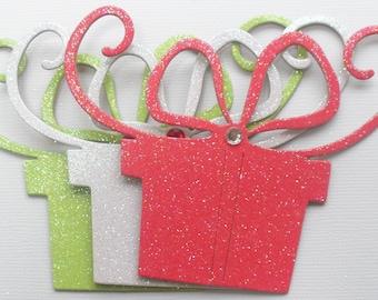 "6 Fancy Gifts - CHRISTMAS PRESENTS  - Glitter Chipboard Die Cut Embellishments -  3 1/2"" x 4 1/4"""