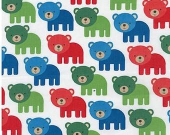 Nine (9) Yards -Woodland Pals Multi Colored Bears on White by Robert Kaufman Fabrics AAK-15955-204 PRIMARY