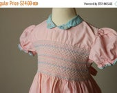 25% OFF SALE 1940s Honeysuckle Smocked Dress >>> Size 18 Months