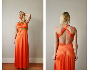 1960s Tangerine Open Evening Dress >>> Size Extra Small