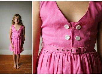 25% OFF SALE 1950s Belted Watermelon Dress~Size 7/8/10