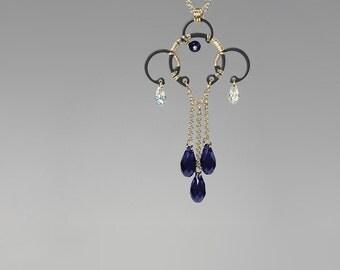 Blue Swarovski Crystal Pendant, Industrial Jewelry, Swarovski Necklace, Indigo and Crystal Ab, Statement Pendant, Bridal Jewelry, Titan v12