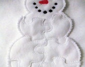 BLACK FRIDAY Snowman Felt Puzzle - Perfect for party favors - school treats - busy bags or quiet books - puzzle game - #804