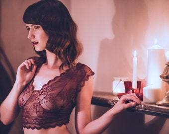 Lace bra top & panty lingerie set, Bralette set, sexy lingerie, lace, sheer lingerie, see through, gift for her, panties, underwear.