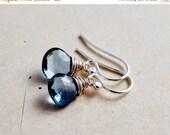 Black Friday Sale Topaz Earrings, Drop Earrings, Blue Topaz, London Blue Topaz, Wire Wrapped, Sterling Silver, November Birthstone, PoleStar