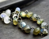 Labradorite Bracelet, Moonstone Bracelet, Wire Wrapped, Gemstone Bracelet, Sterling Silver, Opal, PoleStar, Dark Gray, Rainbow Moonstone