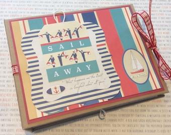 Vacation Mini Album, Vacation Scrapbook, Vacation Photo Album, Nautical Scrapbook Album, Sailing Album, Boating Album, Summer Scrapbook