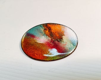 Copper Brooch Vintage enamel abstract designHand Crafted Hand Made Copper Enamel Oval Pin