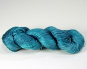 SS{l} Deep Turquoise Yarn on SilkenSea{lace} 70/30 Mulberry Silk/SeaCell Hand Dyed Yarn, 875y/800m/100g, CW255