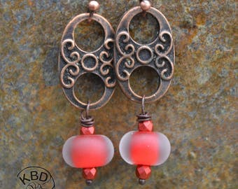 Etched Lampwork Glass and Copper Earrings