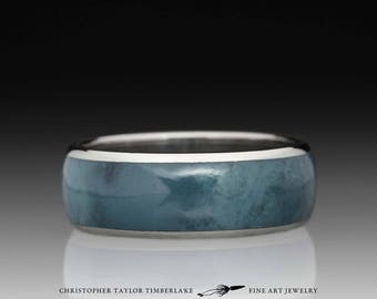 Blue Jade Inlay and Stainless Steel Ring