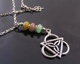 Tourmaline Necklace, Celtic Jewelry with Colorful Tourmaline, Celtic Knot Necklace, Gem Necklace, Tourmaline Jewelry, Irish Jewelry, N1294