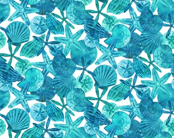 Beach Fabric Cotton  Quilt Ocean Tides Northcott 21513-42  Beach Seashells Material 1/2 yard cut