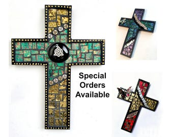 Black Mosaic Cross, Butterfly Mosaic Wall Cross, Celtic Custom Mosaic Cross, Mosaic Cross Wall Hanging, Handmade Cross