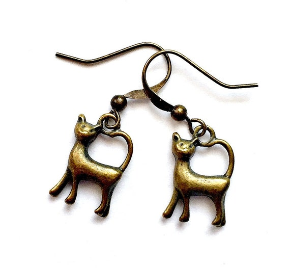 Bronze Cat Earrings, Pierced Antique Bronze Cat Earrings, Handmade Cat Earrings, Dangling Bronze Cat Earrings, Dark Gold Cat Earrings