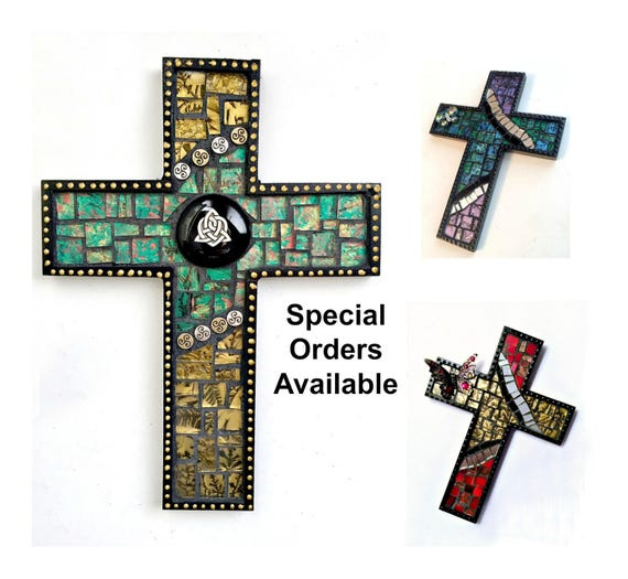 Custom Black Mosaic Cross, Butterfly Mosaic Wall Cross, Celtic Custom Mosaic Cross, Mosaic Cross Wall Hanging, Handmade Cross