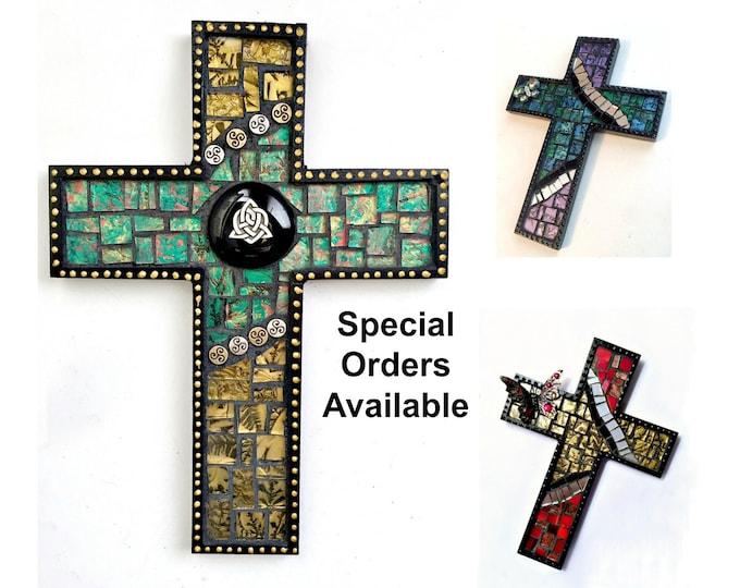 Black Mosaic Cross, Butterfly Mosaic Wall Cross, Celtic Custom Mosaic Cross, Mosaic Cross Wall Hanging, Handmade Cross