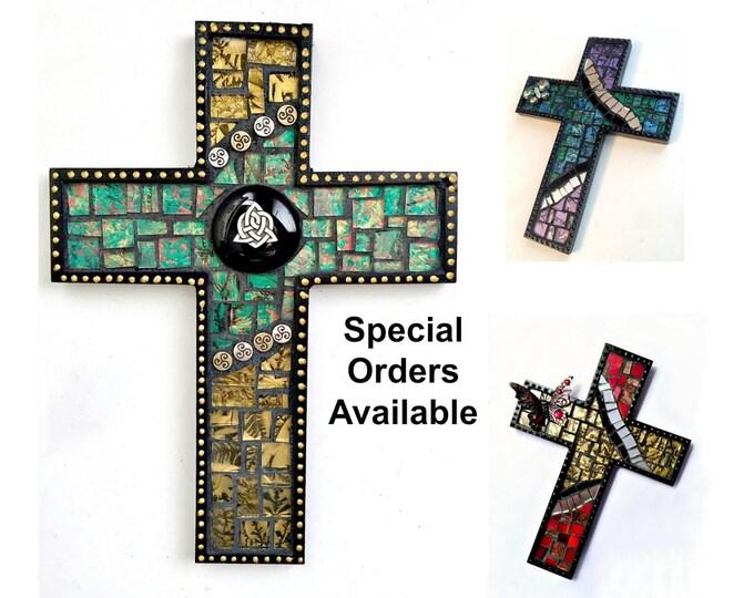 Custom Black Mosaic Cross, Butterfly Mosaic Wall Cross, Celtic Custom Mosaic Cross, Mosaic Cross Wall Hanging, Handmade Cross