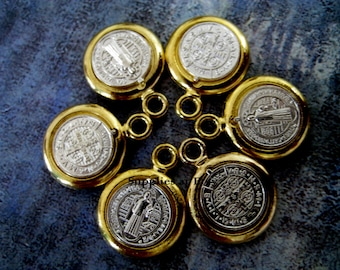 Catholic Medals St Benedict gold Silver Medal Charm 15mm-Silver Gold Saint Benedict Medals Charms-San Benito medalla dije-Spiritual Charms
