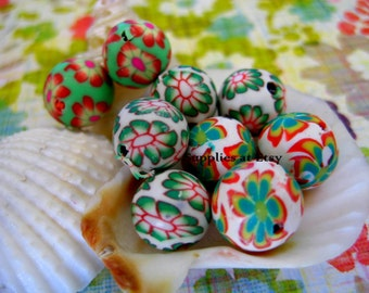 Sale  Organic Assorted green red blue white floral Polymer Clay Beads Round  beads 10mm-handmade Floral beads- Floral  Pink colors