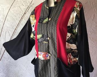 Mandarin Jacket With Beautiful Japanese Print