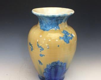 Blue and Gold Crystalline Bud Vase