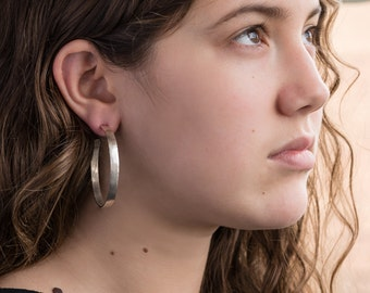 Big sterling silver hoop earrings/ 50mm/ Large hammered hoops, simple/ Classic silver hoop earrings for women/ Special gift for girlfriend